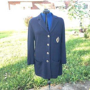 St. John blue fall cardigan EUC size 12